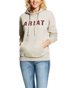 Ariat Women's Oatmeal R.E.A.L. Logo Hoodie, Oatmeal, hi-res