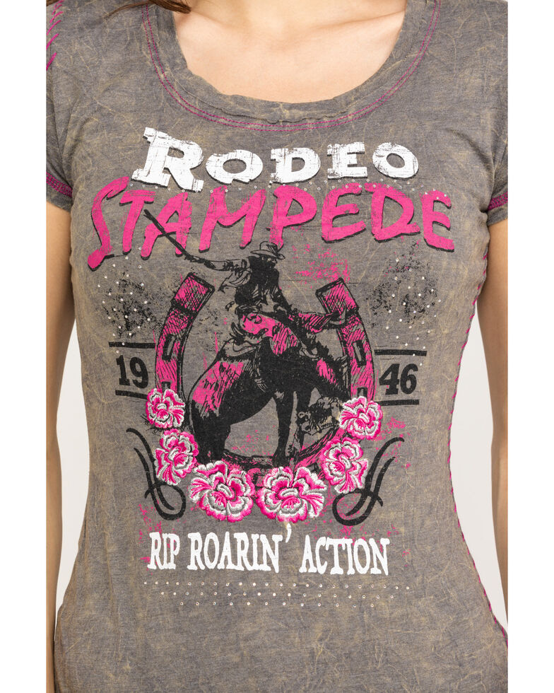 White Label by Panhandle Women's Brown Embellished Rodeo Tee, Brown, hi-res