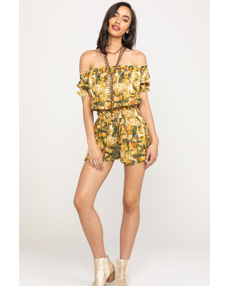 Coco + Jaimeson Women's Off The Shoulder Olive Tropical Floral Crop Top, Olive, hi-res