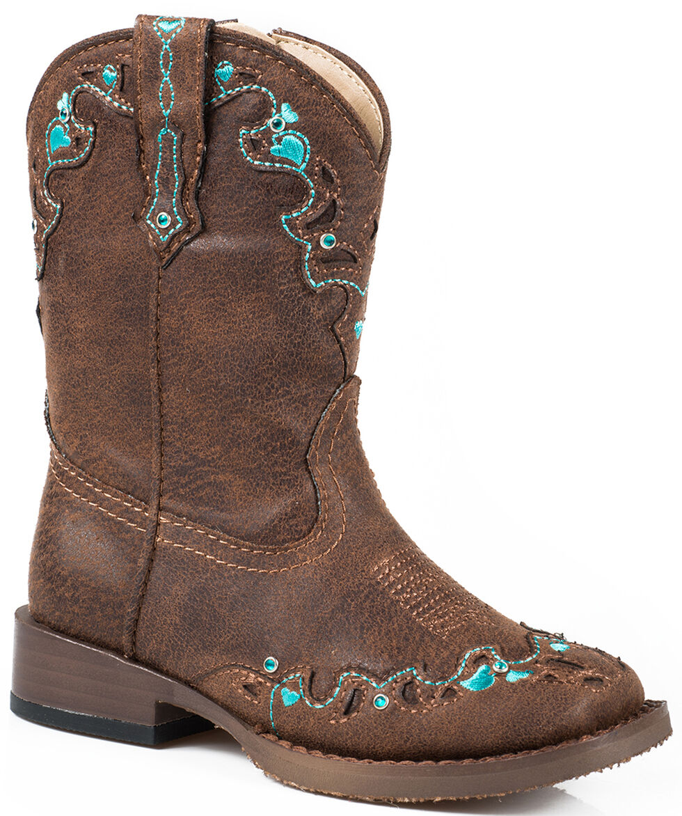 Roper Toddler Girls' Brown Vintage Crystal Cowgirl Boots - Square Toe  , Brown, hi-res