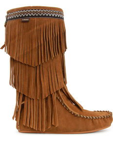 Lamo Women's Virginia Fringe Moccasin Boots  , Chestnut, hi-res