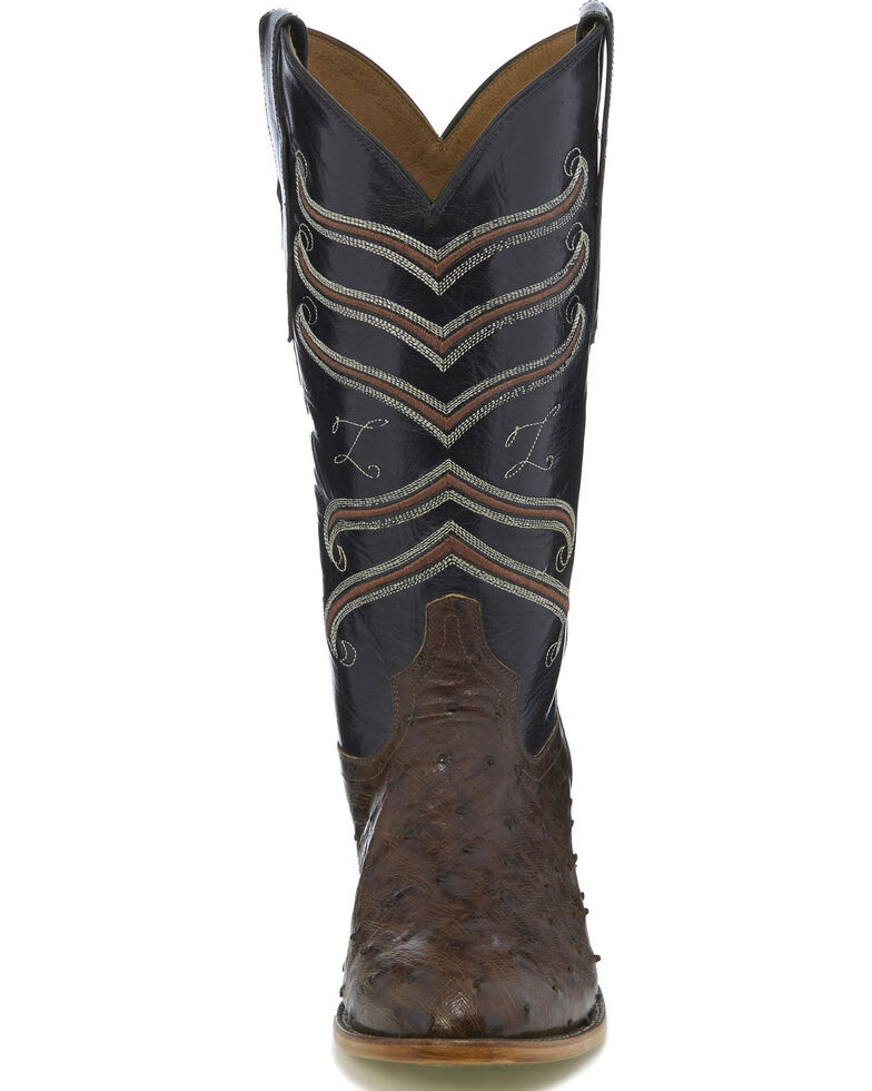 Tony Lama Men's Brown/Black Full Quill Ostrich Cowboy Boots - Medium Toe, Dark Brown, hi-res