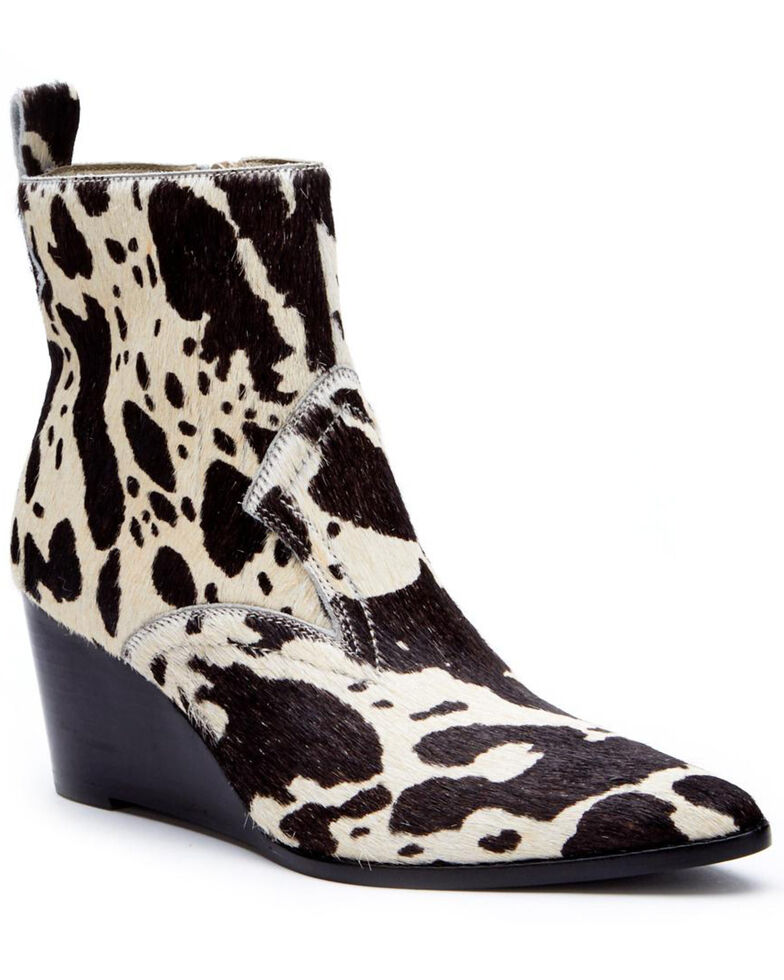 Matisse Women's Essentials Wedge Fashion Booties - Pointed Toe, Black/white, hi-res