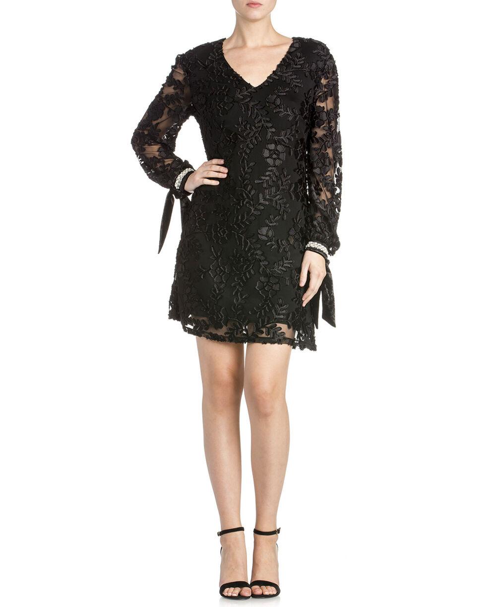 Miss Me Women's Floral Sheer Dress, Black, hi-res
