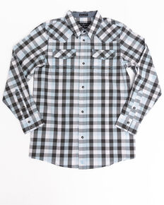 Cody James Boys' Elsworth Check Plaid Long Sleeve Western Shirt  , Black/blue, hi-res