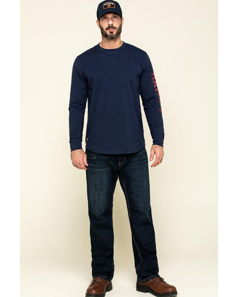 Hawx Men's Navy Sleeve Logo Long Sleeve Work T-Shirt - Tall , Navy, hi-res
