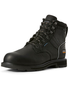 Ariat Men's Black Groundbreaker Waterproof Work Boots - Steel Toe, Brown, hi-res