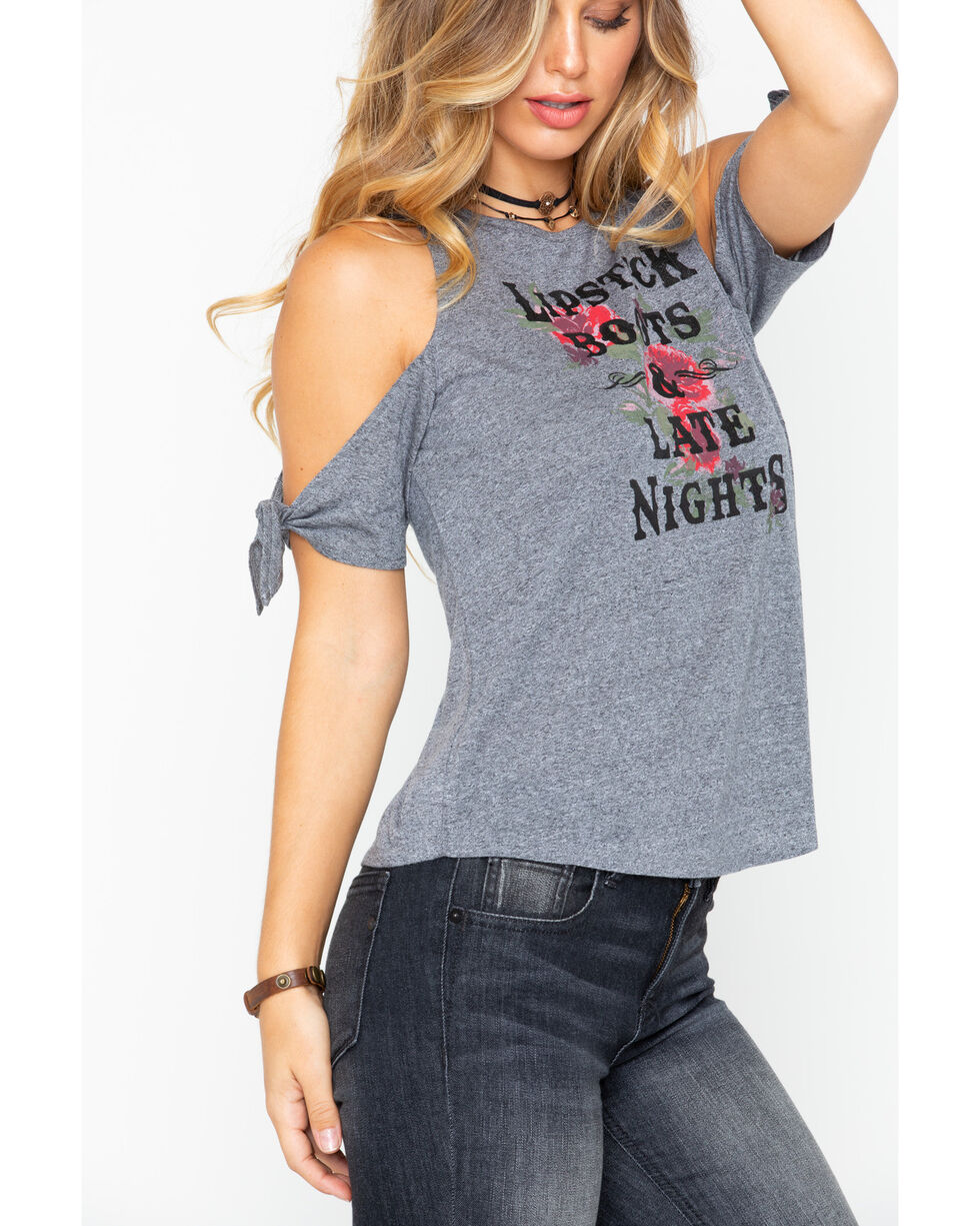 Shyanne Women's Lipstick Boots & Late Nights Graphic Tee, Heather Grey, hi-res