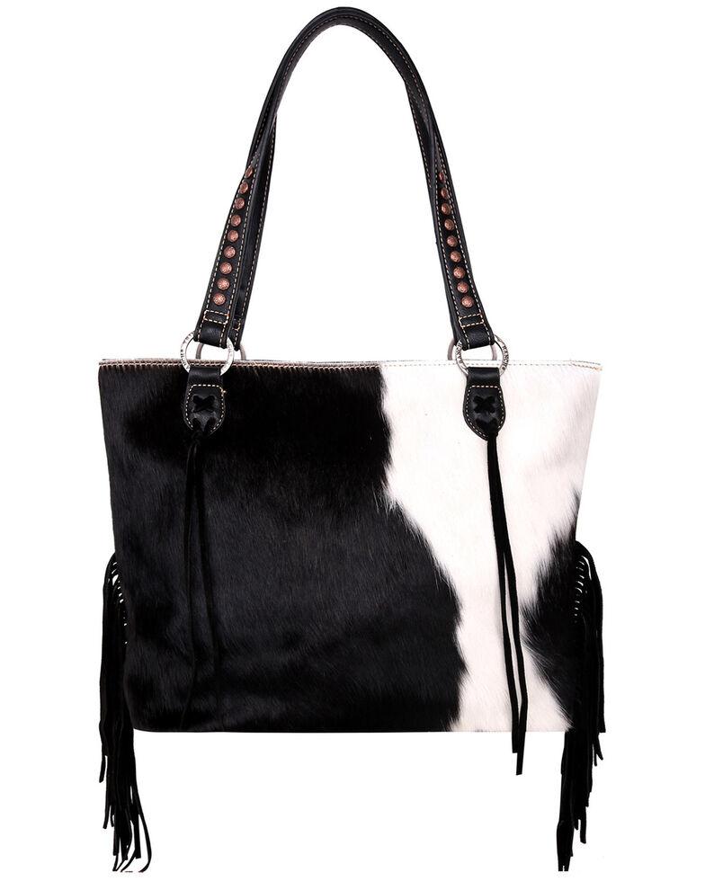 Trinity Ranch Women's Southwestern Fringe Tote Bag, Black, hi-res