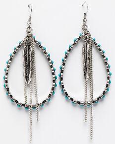 Shyanne Women's Summer Escape Beaded Teardrop Hoop Fringe Earrings , Silver, hi-res