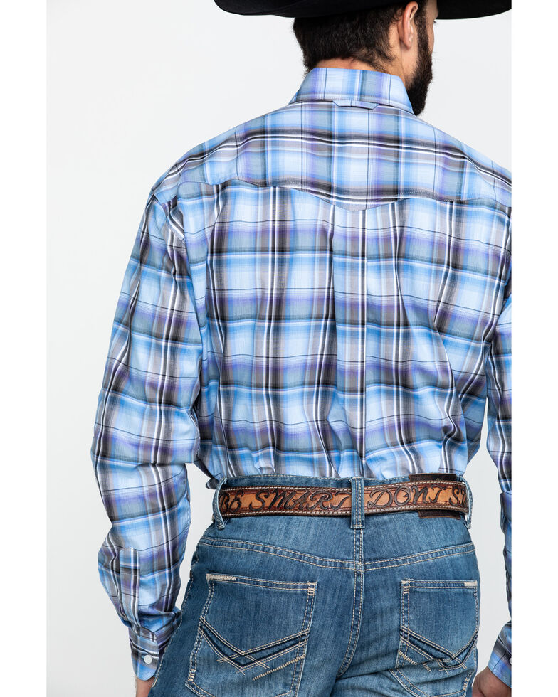 Roper Men's Amarillo Cool Breeze Plaid Long Sleeve Western Shirt , Blue, hi-res
