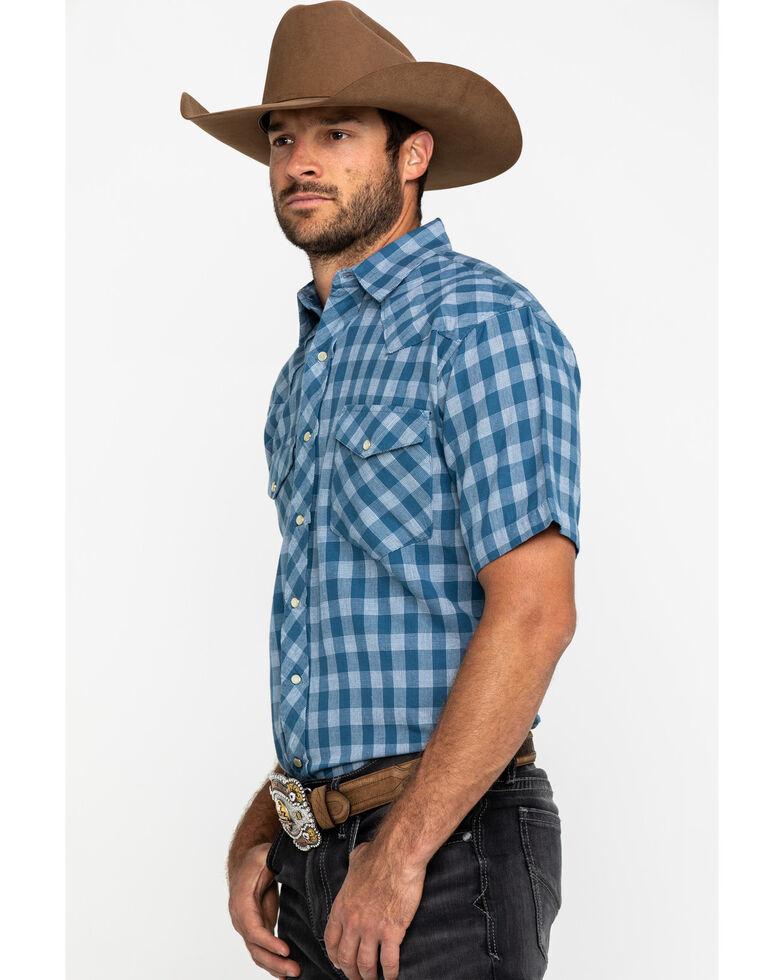 Resistol Men's Navy Palo Duro Check Plaid Short Sleeve Western Shirt , Navy, hi-res