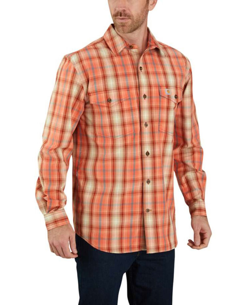 Carhartt Men's Red Clay Plaid Long Sleeve Work Shirt , Red, hi-res