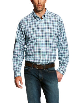 Ariat Men's Hammerman Stretch Plaid Shirt - Big & Tall , White, hi-res