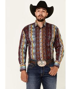 Wrangler Men's Multi Aztec Checotah Print Long Sleeve Snap Western Shirt - Big, Multi, hi-res