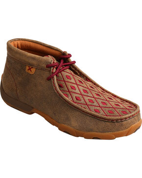 Twisted X Women's Mahogany Diamond Driving Mocs - Moc Toe, Brown, hi-res