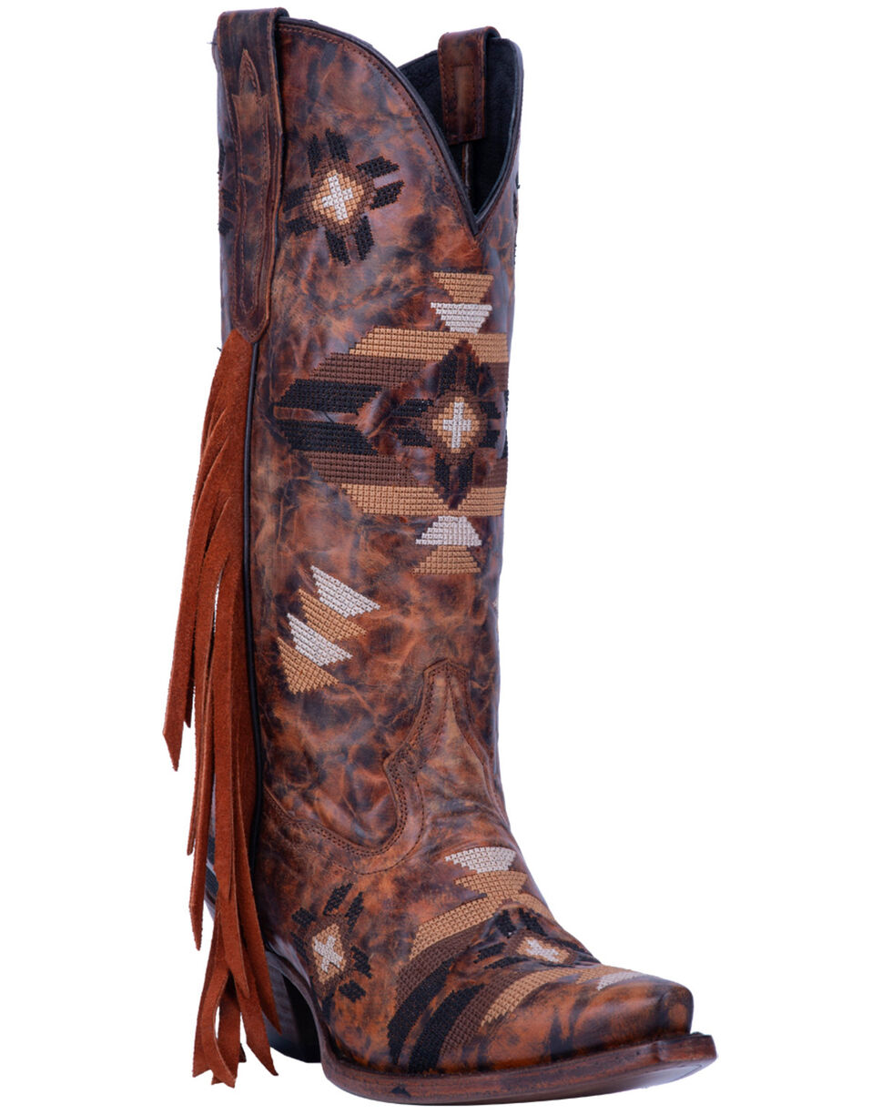 Dan Post Women's Pueblo Fringe Western Boots - Snip Toe, Brown, hi-res