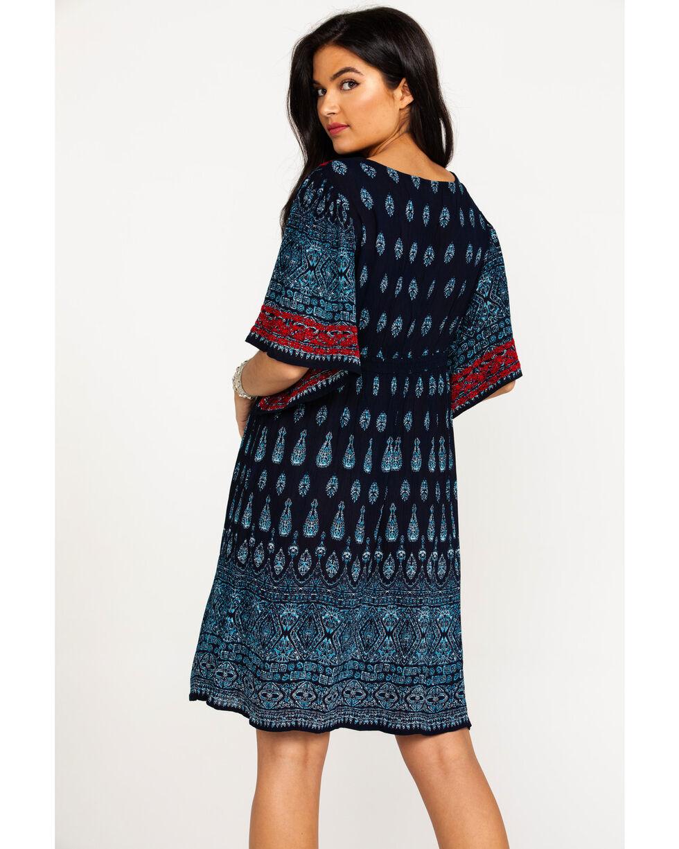 Bila Women's Surplice Border Print Short Sleeve Dress , Navy, hi-res