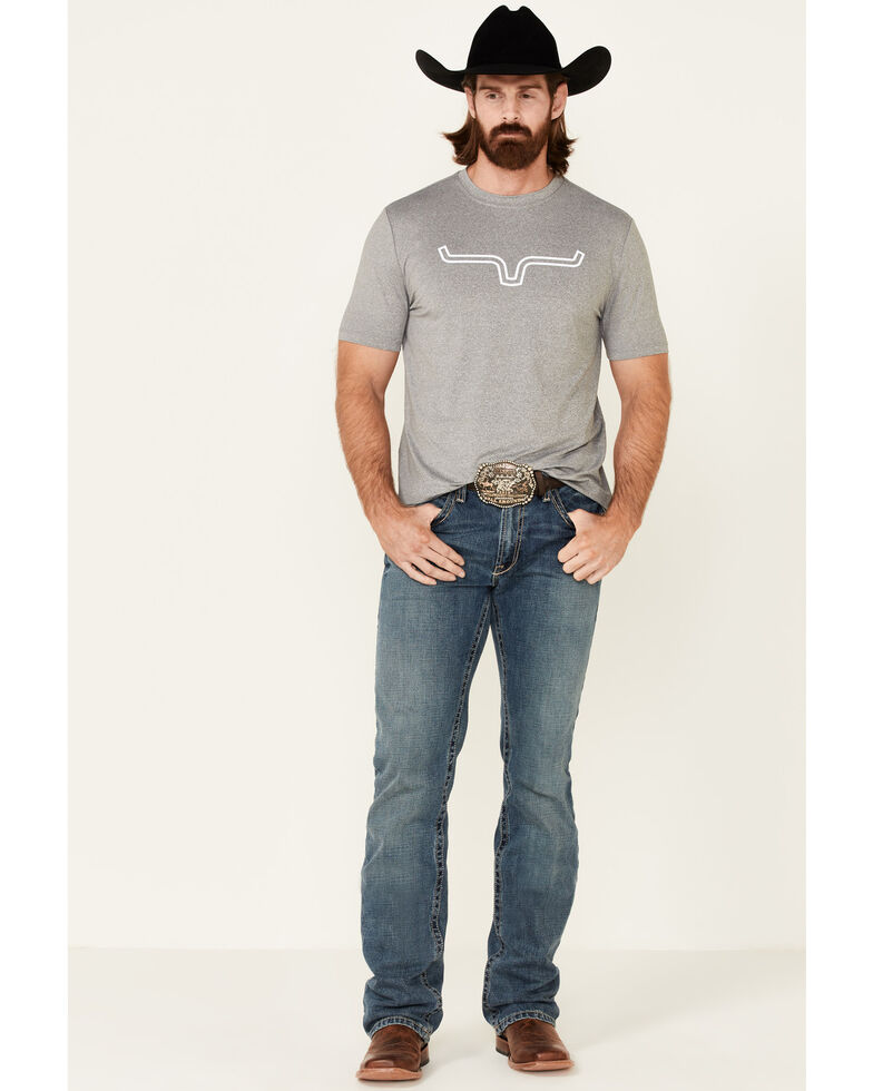 Kimes Ranch Men's Grey Outlier Logo Short Sleeve T-Shirt , Heather Grey, hi-res