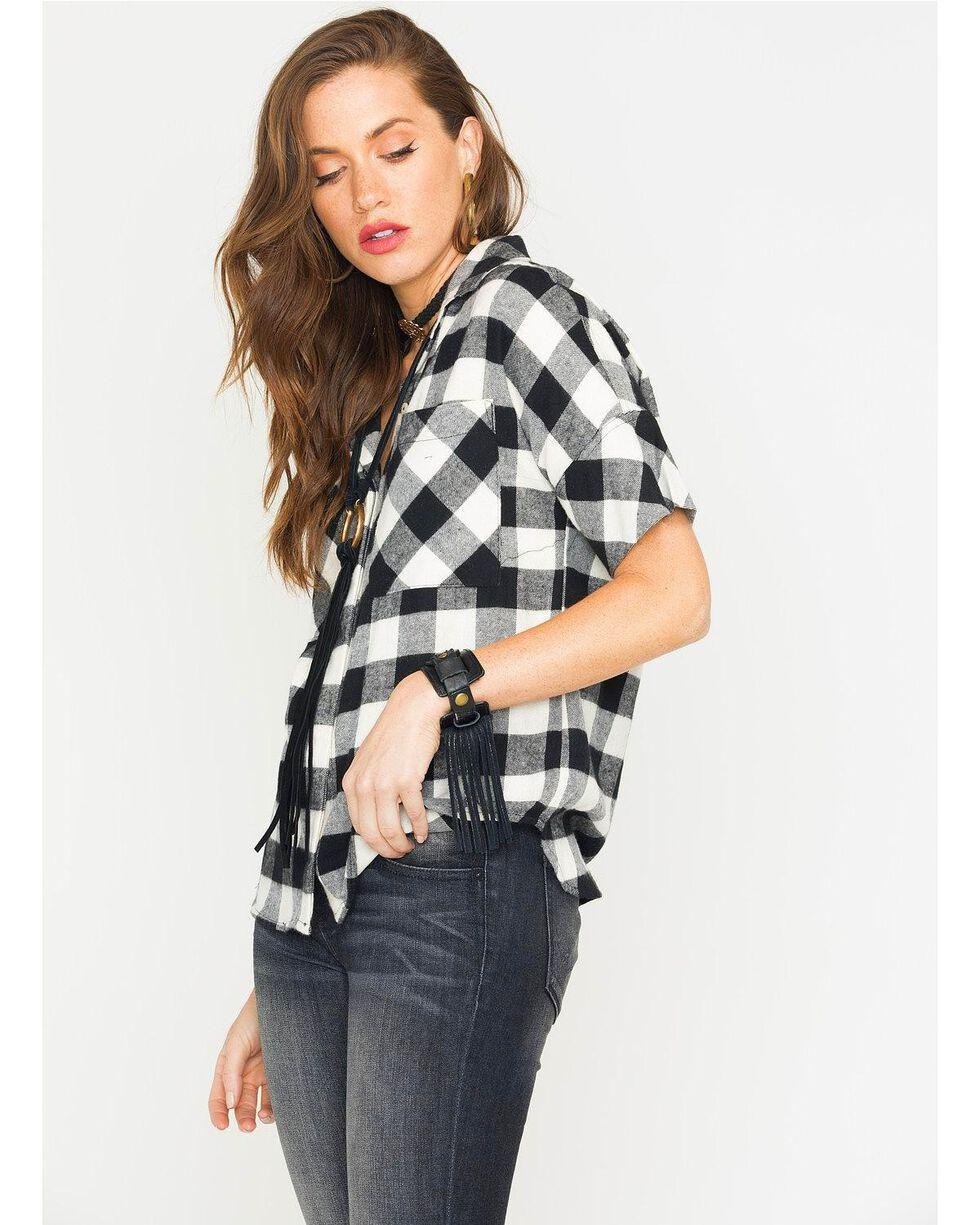 Glam Women's Black Harvest Plaid Boyfriend Shirt , Black, hi-res