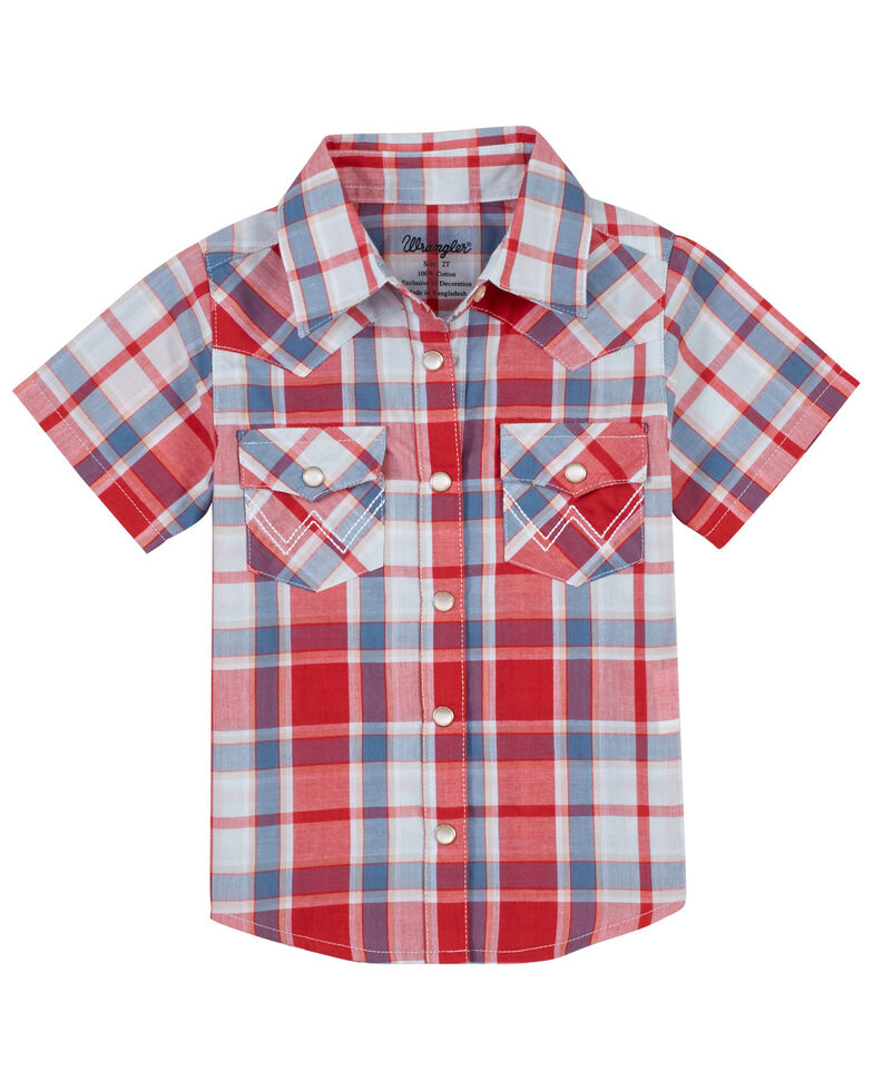 Wrangler Infant & Toddler Boys' Red Plaid Short Sleeve Snap Western Shirt , Red, hi-res