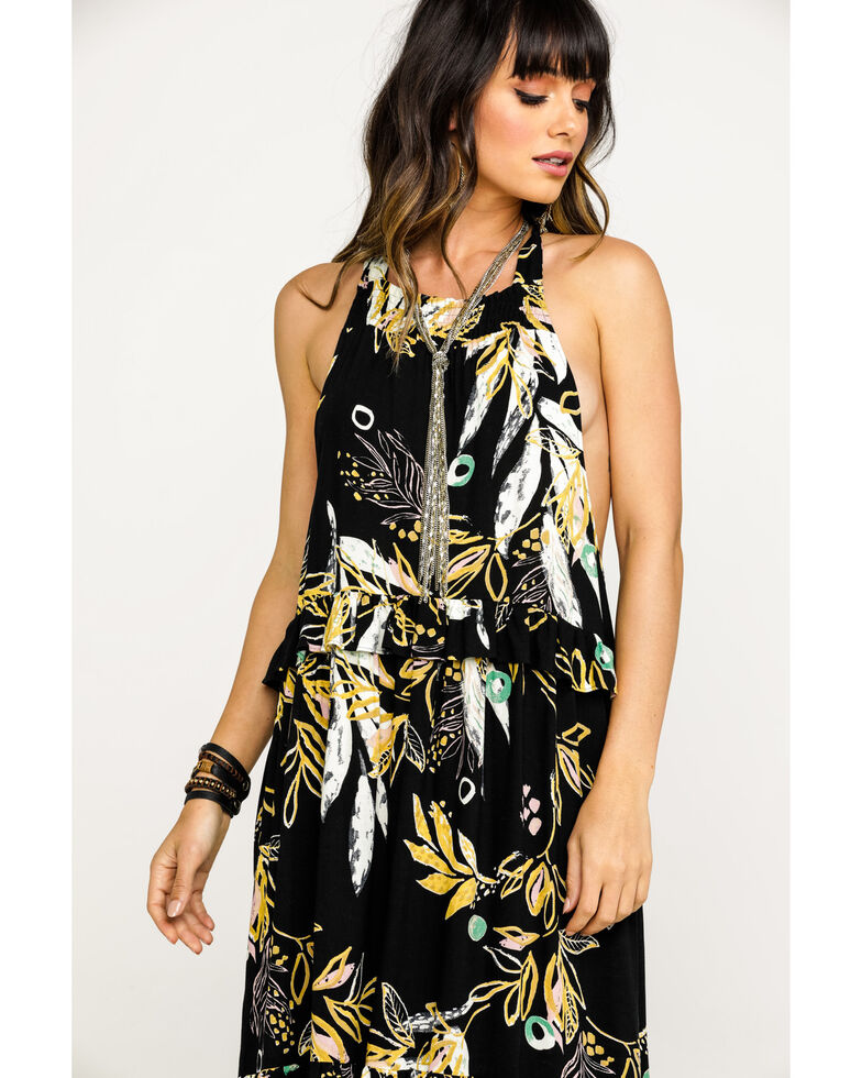Free People Women's Black Anita Floral Maxi Dress, Black, hi-res