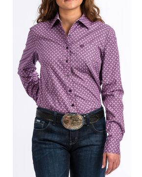 Cinch Women's Western Core Purple Geo Long Sleeve Button Down Shirt, Purple, hi-res