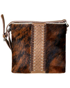Delila by Montana West Women's Coffee Leather Hair-On Crossbody, Brown, hi-res