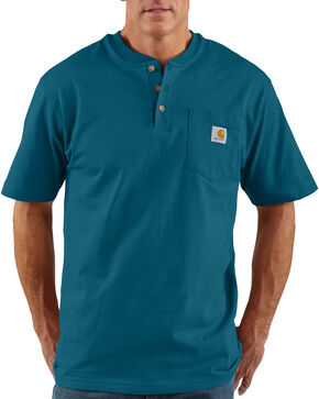 Carhartt Short Sleeve Green Henley Work Shirt, Blue, hi-res