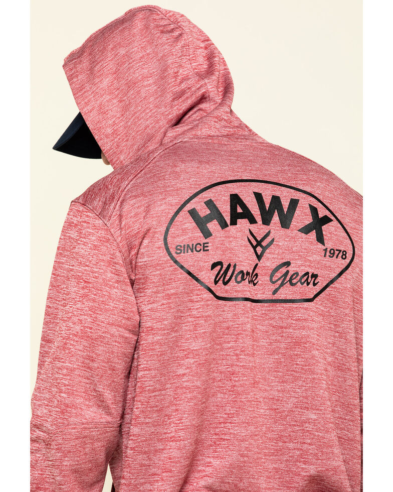 Hawx Men's Red Petrol French Terry Hooded Work Sweatshirt , Red, hi-res