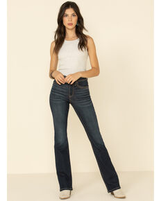 Shyanne Women's Southwestern Stitch Bootcut Jeans, Dark Blue, hi-res