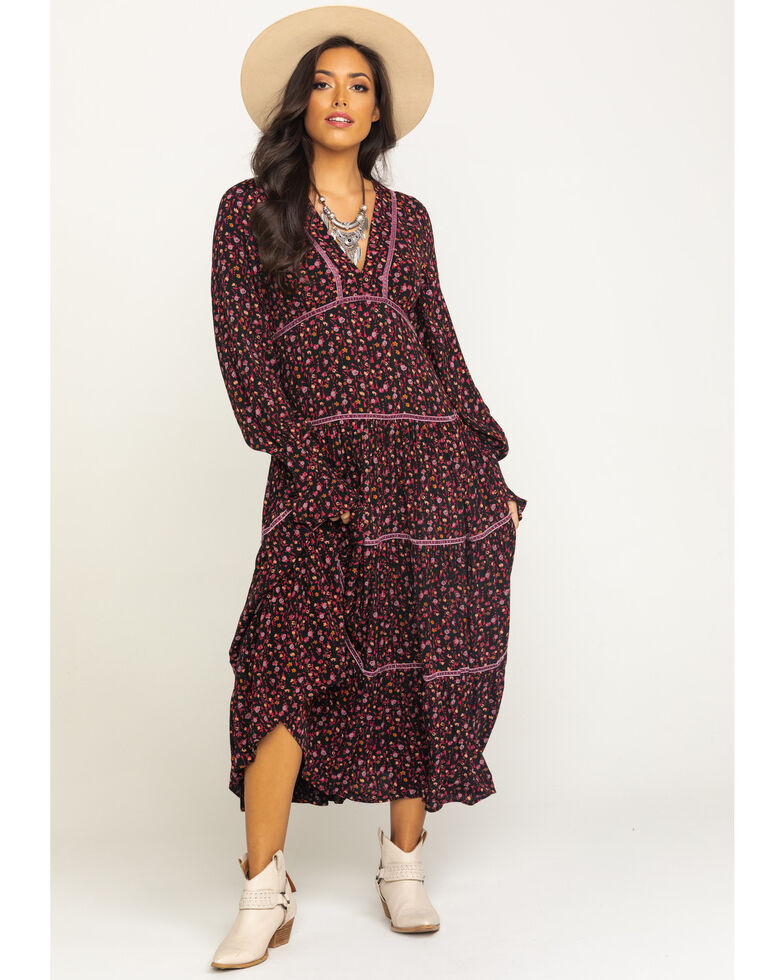 Free People Women's Take A Little Time Midi Dress, Black, hi-res
