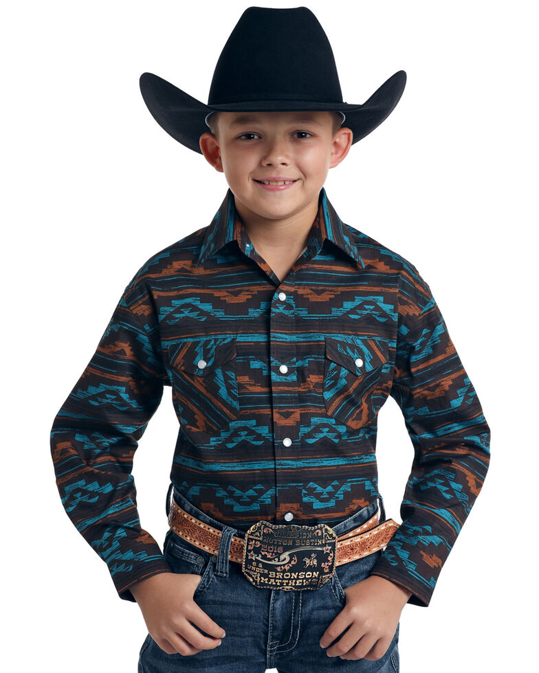 Rough Stock By Panhandle Boys' Arroyo Aztec Print Long Sleeve Western Shirt , Multi, hi-res