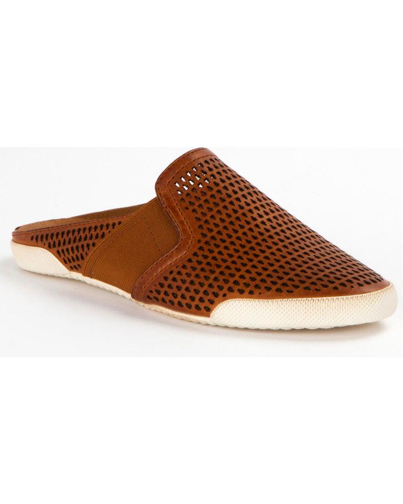 Frye Women's Melanie Gore Perf Mule Shoes , Cognac, hi-res