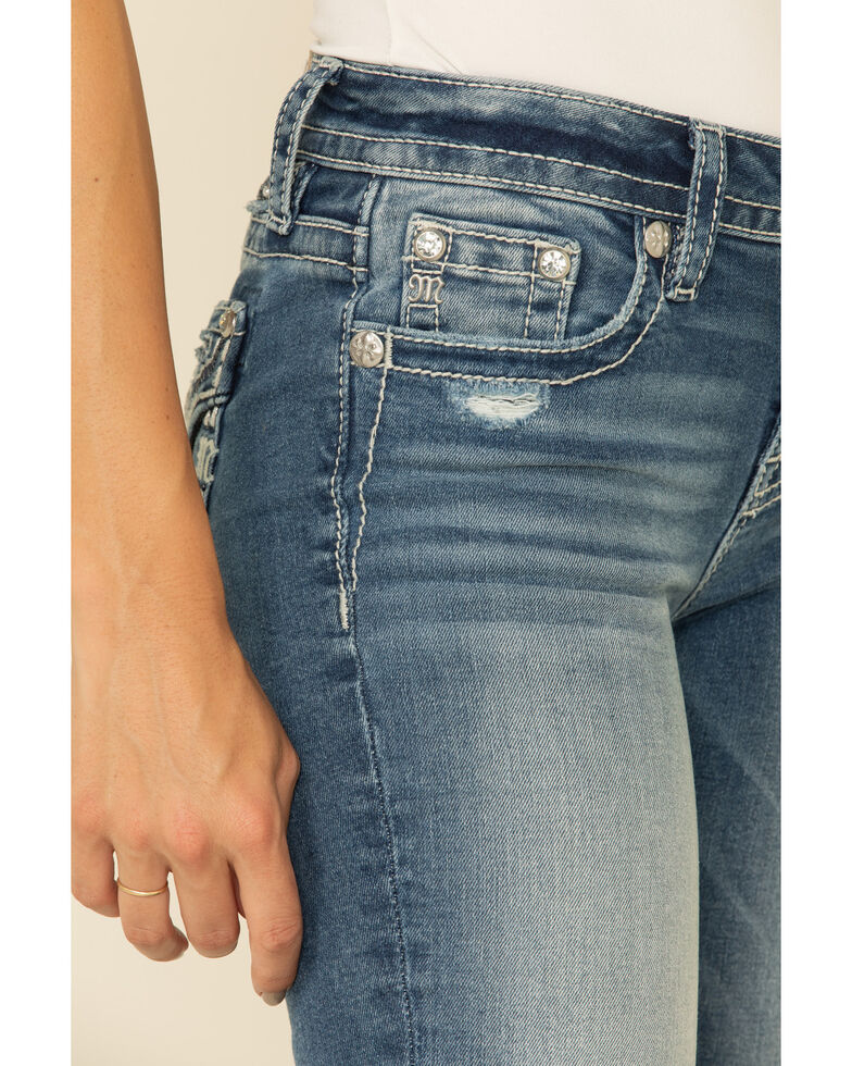Miss Me Women's Straight Leg Flannel Jeans, Blue, hi-res