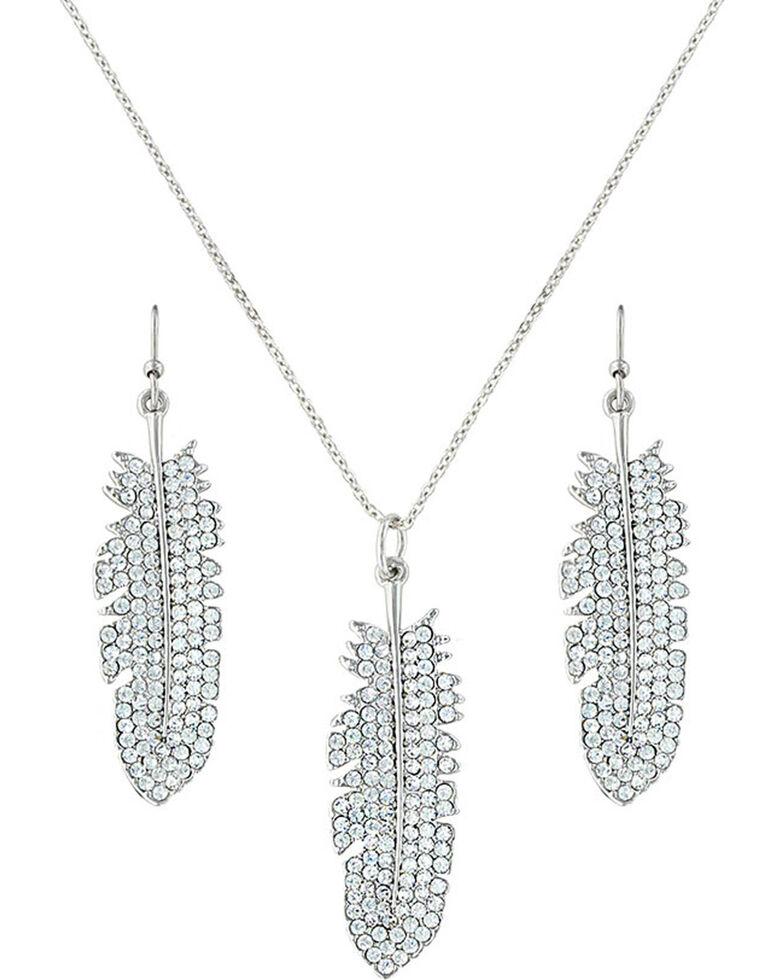 Montana Silversmiths Women's Silver Feather Jewelry Set , Silver, hi-res
