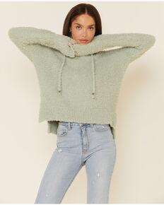 POL Women's Sage Berber Fleece Cozy Hooded Sweater , Sage, hi-res