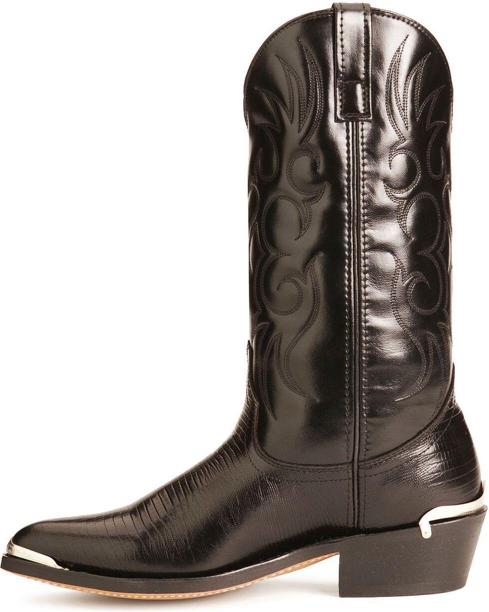 Laredo Lizard Print Cowboy Boots - Pointed Toe, Black, hi-res