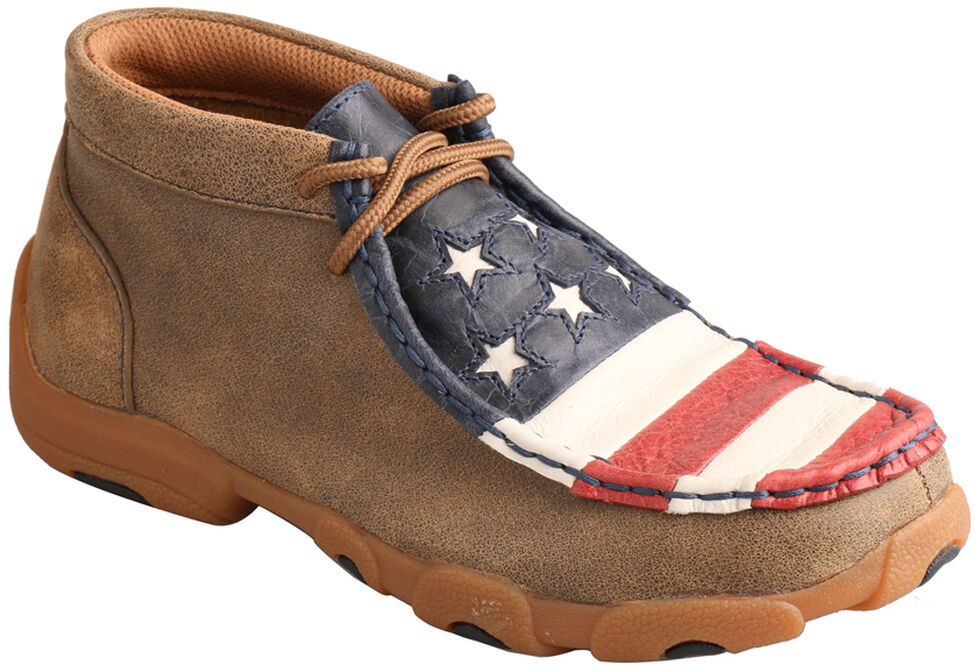 Twisted X Brown Leather American Flag Driving Mocs , Bomber, hi-res