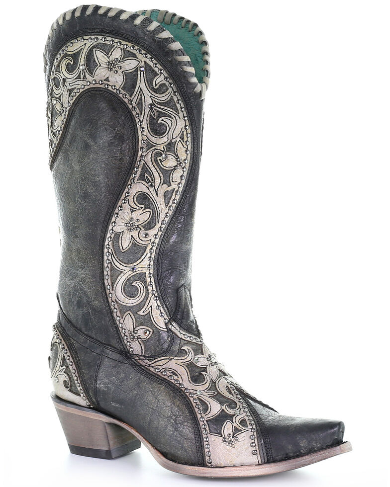 Corral Women's Black Overlay Western Boots - Snip Toe, Black, hi-res