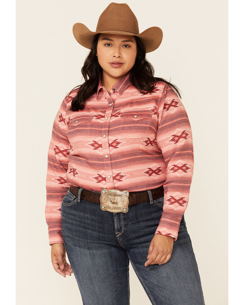 Ariat Women's R.E.A.L Adorable Red Serape Print Long Sleeve Snap Western Core Shirt - Plus, Red, hi-res