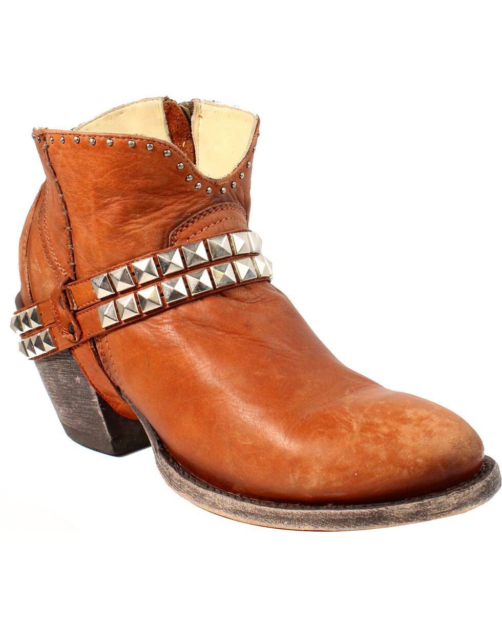 Corral Women's Studs and Harness Booties - Round Toe, Brown, hi-res