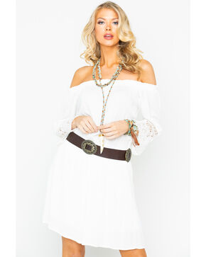 Panhandle Women's White Off Shoulder Lace Dress, White, hi-res
