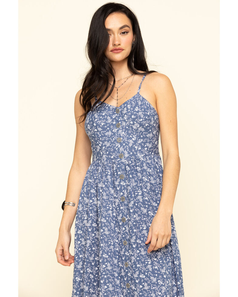 Cotton & Rye Outfitters Women's Chambray Ditsy Button Front Midi Dress, Blue, hi-res