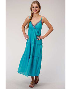 Five Star Women's Turquoise Embroidered Maxi Dress, Turquoise, hi-res