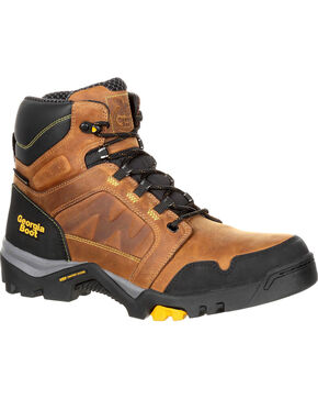 Georgia Men's Brown Amplitude Waterproof Work Boots - Round Toe , Brown, hi-res