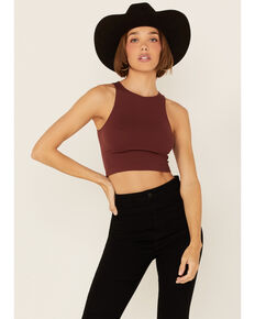 By Together Women's Solid Seamless Ribbed Hi-Neck Crop Tank Top , Burgundy, hi-res
