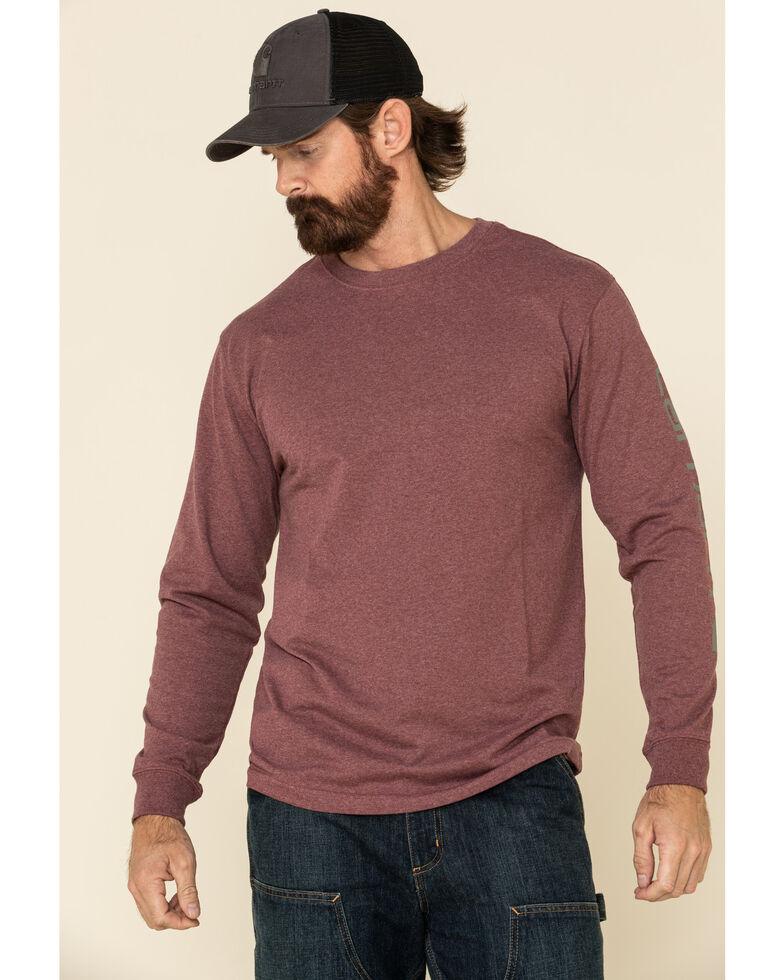 Carhartt Men's Iron Ore Heather Signature Sleeve Logo Long Sleeve Work T-Shirt - Big , Steel, hi-res