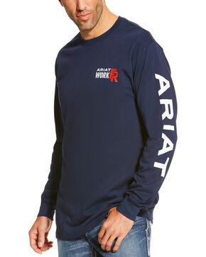 Ariat Mens Navy Fr Logo Crew Neck Long Sleeve Shirt Navy Hi Res