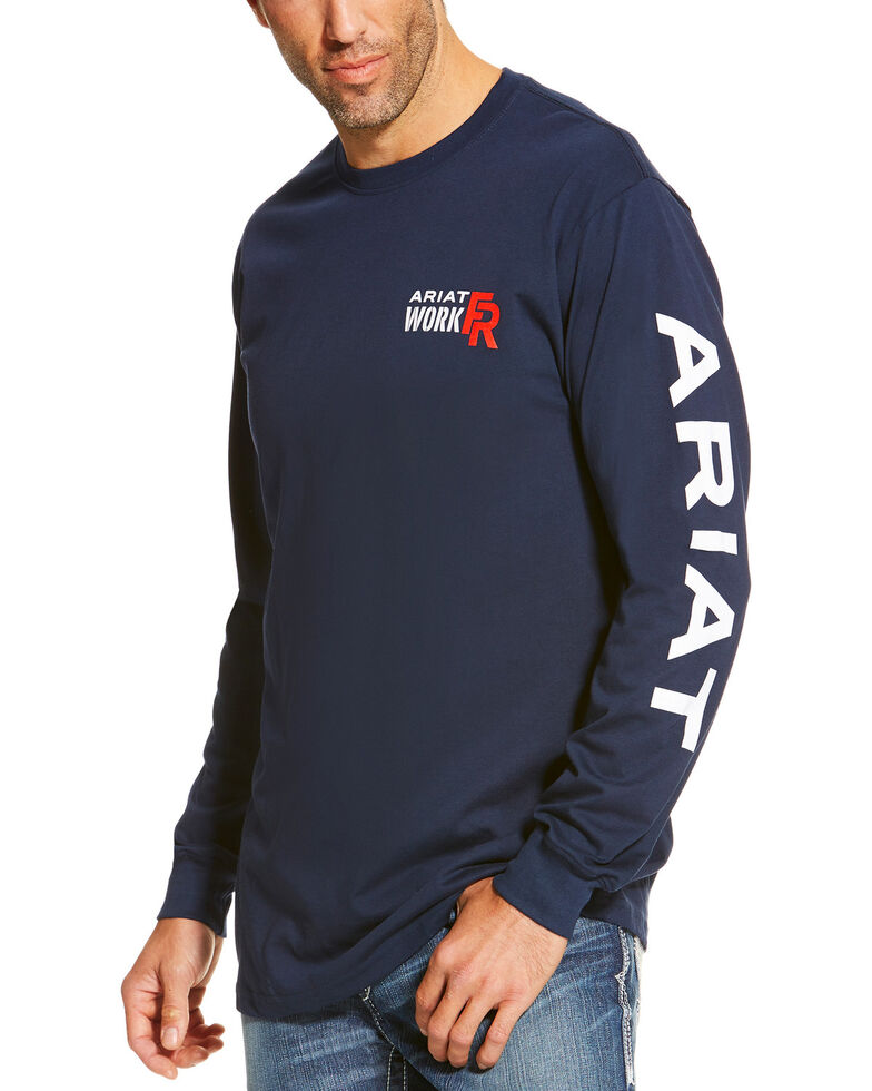 Ariat Men S Navy Fr Logo Crew Neck Long Sleeve Shirt Tall